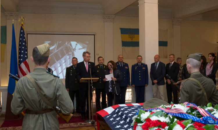 U.S. Ambassador Geoffrey Pyatt speaks at a ceremony at the National Military History Museum in Kyiv commemorating the repatriation of remains from Ukraine to United States custody