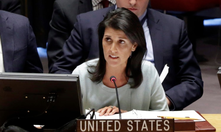 Ambassador Nikki Haley  delivers remarks at a UN Security Council Briefing on Ukraine